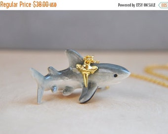SALE Great White Shark Necklace, Shark Necklace, Gold Shark Necklace, Shark tooth necklace, Ceramic, Porcelain, Jawesome Necklace, shark wee