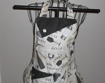Wine Bottles and Polka Dots Women's Apron