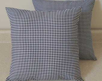 Set of 2 Black white Houndstooth pillow covers shams geometric Alabama University Crimson tide 14x14 14 x 14