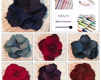 Hydrangea Flower Hair Clip | Headband: Choose A Color & Mounting Type + Bobby Pin + Alligator Clip + French Barrette + Skinny Elastic Band