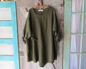 RESERVED FOR M  E ethnic tunic washed linen in deep olive moss green ready to ship