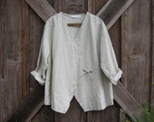washed linen blouse top in sand beige ready to ship