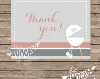 Backyard BBQ Grill THANK YOU Card   Instant Download