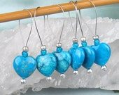 Stitch Markers, Knitting, Jasper Hearts, Semi-Precious Stones, Turquoise, Snag Free, Knitting Tool, Knitting Accessory, Gift for Knitters