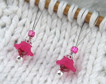 Stitch Markers, Knitting, Lucite Flowers, Glass Crystals, Magenta, Silver, Snag Free, Knitting Tool, Knitting Accessory, Knitters Gift