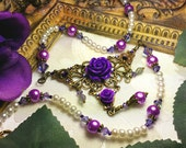 Purple Rose Crystal Pearl Drop Victorian Choker Necklace Antiqued Bronze Filigree Titanic Temptations Vintage Steampunk Bridal Style Jewelry
