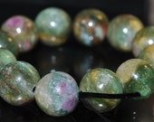 12 Pieces 10mm Charming~Natural Ruby Red Green RUBY In FUCHSITE Round Beads - F1040