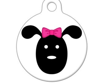 Pet ID Tag - Girl Dog With Bow Pet Tag, Dog Tag, Child ID Tag