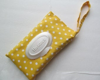 Baby Wipes Cover For HUGGIES 32Wipes/White Dots on Yellow