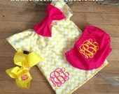 Monogrammed Yellow Chevron Dress Matching Diaper Cover Hair Bow Set Outfit Set newborn 0-3 3-6 Month 6-9 9-12 Month 12 18 Month 2T 3T