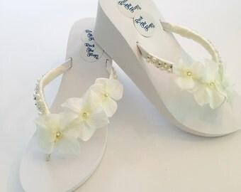 """Bridal Flip Flops.3 """" Wedged Heel!!Wedding Flip Flops.Bridal Shoes.Wedged Flip Flops.White Wedding Shoes. White Sandals.Ivory Wedding Shoes"""