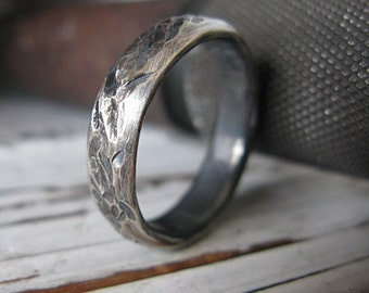 Mens Wedding Band Distressed Ring 5mm Unique Mens Wedding Ring Mens Wedding Bands Mens Wedding Rings Viking Wedding Ring Black Rhodium Ring