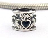 Irish Claddagh European Charms Sterling Silver