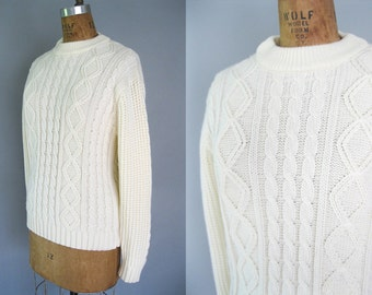 Plus Size Fisherman Sweater - White Cable Knit  -1970s Pullover -John Wanamaker - 70s Soft Acrylic Fall Sweater