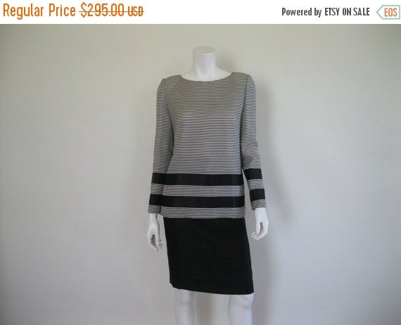 ON SALE 1980s James Galanos Dress - Striped Silk - Vintage LBD -M