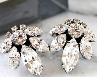 Wedding Cuff Links,Swarovski Cuff links,Swarovski Crystal Cuff links,Gift For Men,Groomsman Gift,Silver Crystal Cuff links,Mans Cuff Links