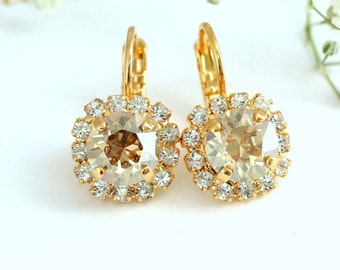 Champagne Drop Earrings, Rose Gold Drop Earrings, Champagne Earrings, Swarovski Drop Earrings, Bridesmaids Earrings, Champagne Jewelry