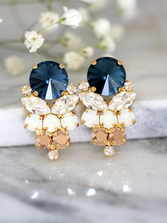 blue navy earrings navy blue swarovski earrings bridal dark. Black Bedroom Furniture Sets. Home Design Ideas
