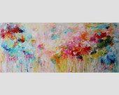 large wall art abstract painting,large painting,multi color, colorful painting,red,pink,blue,Canvas Wall art,acrylic painting