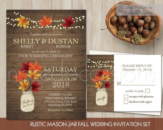 Rustic Fall Wedding Invitations: Rustic Fall Wedding Invitations Set Mason Jar By