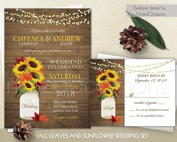 rustic fall wedding invitations suite fall leaves sunflowers, Wedding invitations