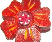 Vintage Button Large Wooden Realistic Flower
