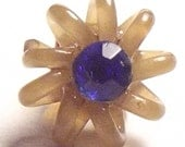 Vintage Button SWEET small celluloid coil shape w/ blue paste