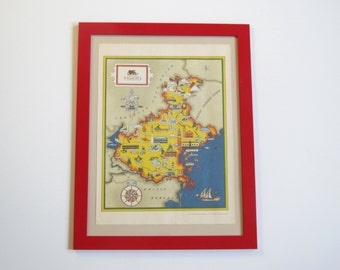 Vintage map of Italy/ illustrated Venice/ 1960's Italian publication of Tempo/Time