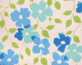 Vintage wallpaper/ blue flowered wallpaper/ mid century decor/ Scandinavian pattern