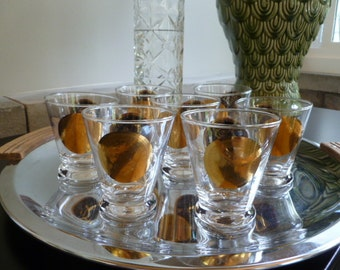 Vintage Cocktail Glasses, Mid Century Lowball, stemless Martini glasses, rocks, Black and Gold Coin Barware , Set of Four glasses