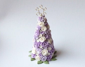 Miniature dollhouse Christmas tree for half scale dollhouse with white and lilac roses handmade from polymer clay