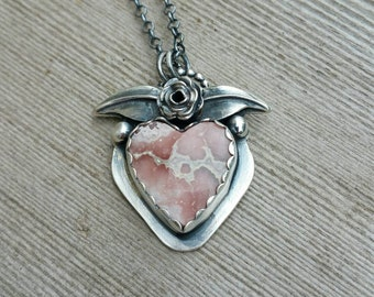 Sterling silver Rhodacrosite heart and flower necklace