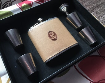Flask 6 oz Stainless Steel With Leather Personalized and Customized