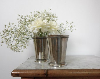 Two Vintage Mint Julep Cups 12 oz Silverplated Tumblers EPNS Beaded Pair Vase Table Centerpiece Elegant or Shabby Cottage Home Wedding Decor