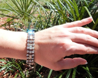 Sparkly Art Deco ~Vintage 40's Hollywood GLAMOUR~ STERLING Silver~ Crystal~ SIGNED Bracelet with Safety Chain