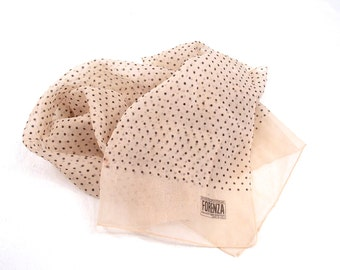 Authentic Sportswear FORENZA, Made in Italy, Non Accettare Sostituti Vintage Neck Scarf, Scarves, Cream with Black Polka Dots, circa 1970s