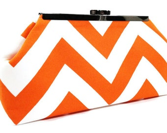Clutch Purse - Orange and White Chevron Clasp Clutch Wedding Clutch Bridesmaid Clutch Fall Wedding
