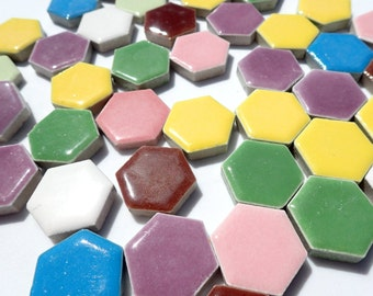 Hexagon Mosaic Tiles - 100 Ceramic Tiles 1 Inch Assorted Colors Tesserae Mosaic Supplies