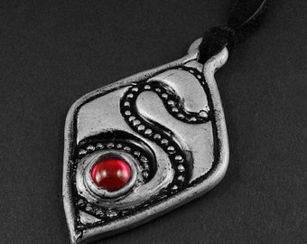 Summer Sale - 10% off - Polymer Clay and Red Glass Necklace