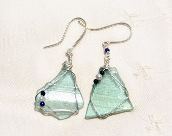 Transparent Roman Glass Silver Earrings. Ancient Glass Shard Earrings + Pearls and Lapis Lazuli Beads. Roman Glass Jewelry. Silver Jewelry