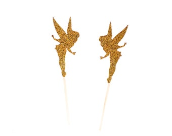 24 Gold Glitter Tinker Bell  Tink Tinkerbell Cupcake Toppers - Party Picks - Food Picks