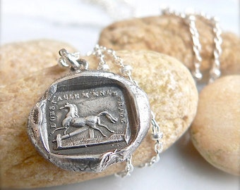 RISE to the CHALLENGE, Handmade Wax Seal Jewelry - Necklace , Equestrian Gift,  Jewellery, Sterling Silver, Horse Charm, Horse Lover,