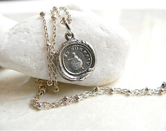 HONESTY, Handmade Wax Seal Necklace, Succeed with Integrity,  Sterling Silver Jewellery