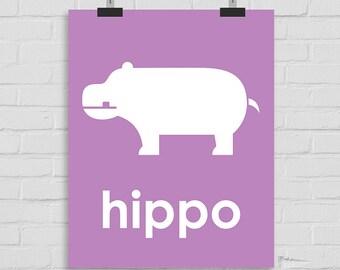 Hippo Art Print, Hippopotamus Wall Art Nursery Art, Hippo Playroom Art, Childrens Art, Hippopotamus Wall Print, Hippo Printable Art