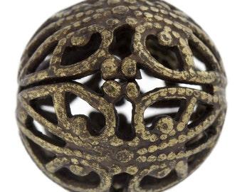 2 pcs Vintaj 14mm Round Filigree Beads // Large Brass Bead // Vintaj Beads // Vintaj Round Beads // Vintaj Wrap