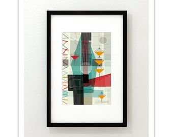 PASTICHE no.25 - Giclee Print - Mid Century Modern Danish Modern Abstract Art Eames Style
