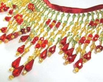 Fiesta Bright Red, Olive Green and Gold 5 inch long beaded fringe decorator trim