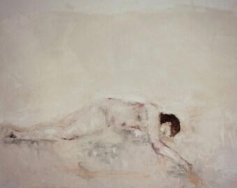 "Contemporary nude art modern female figure art wall decor. ""Lovelorn"""