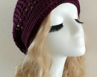 Super Soft Crochet hat----Deep Purple-001-3