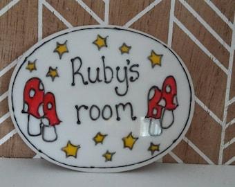 Rubys room name plaque door sign mushrooms fairyland